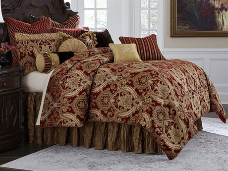 Aico Furniture Michael Amini Edens Paradise Lafayette Red 12-Piece Queen Comforter Set AICBCSQS12LYFYERED