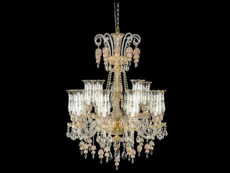 Aico Furniture Michael Amini Garnier Gold 15-Light 34'' Wide Chandelier AICLTCH90015GLD