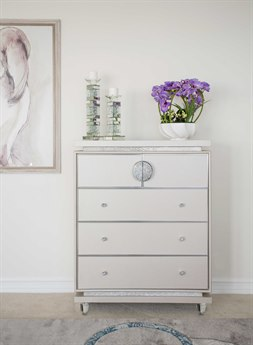Aico Furniture Michael Amini Glimmering Heights Ivory Five-Drawer Chest Of Drawers