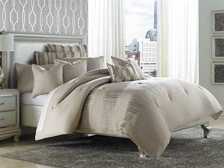Aico Furniture Michael Amini Glimmering Heights Captiva Neutral Ten-Piece King Comforter Set AICBCSKS10CAPVANUTR