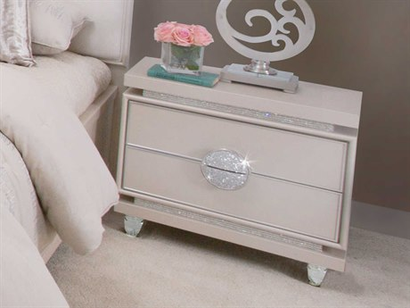 Aico Furniture Michael Amini Glimmering Heights Ivory Two-Drawer Nightstand