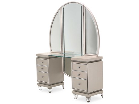 Aico Furniture Michael Amini Glimmering Heights Ivory Vanity with Mirror