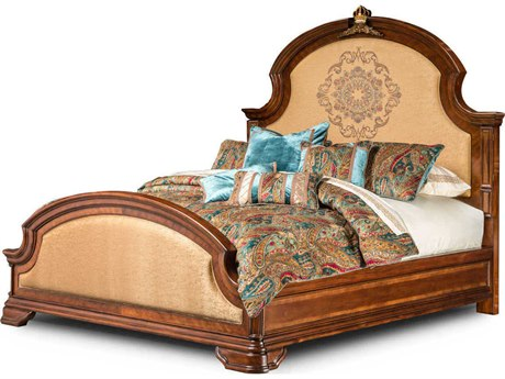 Aico Furniture Michael Amini Grand Masterpiece Royal Sienna California King Size Panel Bed AIC9050000CK402