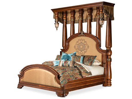 Aico Furniture Michael Amini Grand Masterpiece Royal Sienna California King Size Panel Bed AIC9050000CKCAN402