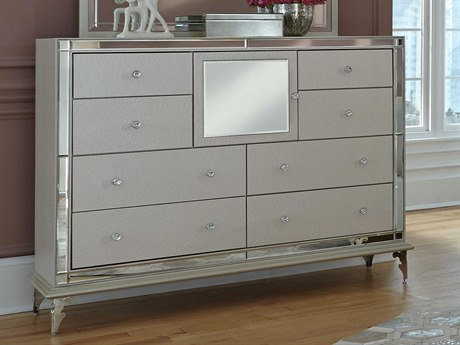 Aico Furniture Michael Amini Hollywood Loft Frost Eight-Drawer Double Dresser AIC9001650104