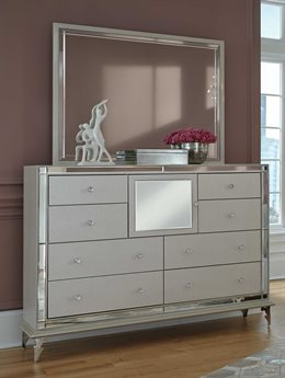 Aico Furniture Michael Amini Hollywood Double Dresser with Dresser Mirror AIC9001650104SET