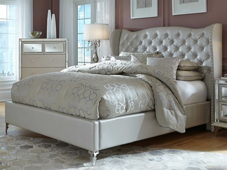 Aico Furniture Michael Amini Hollywood Loft Frost Eastern King Size Platform Bed AIC9001600EKBED104