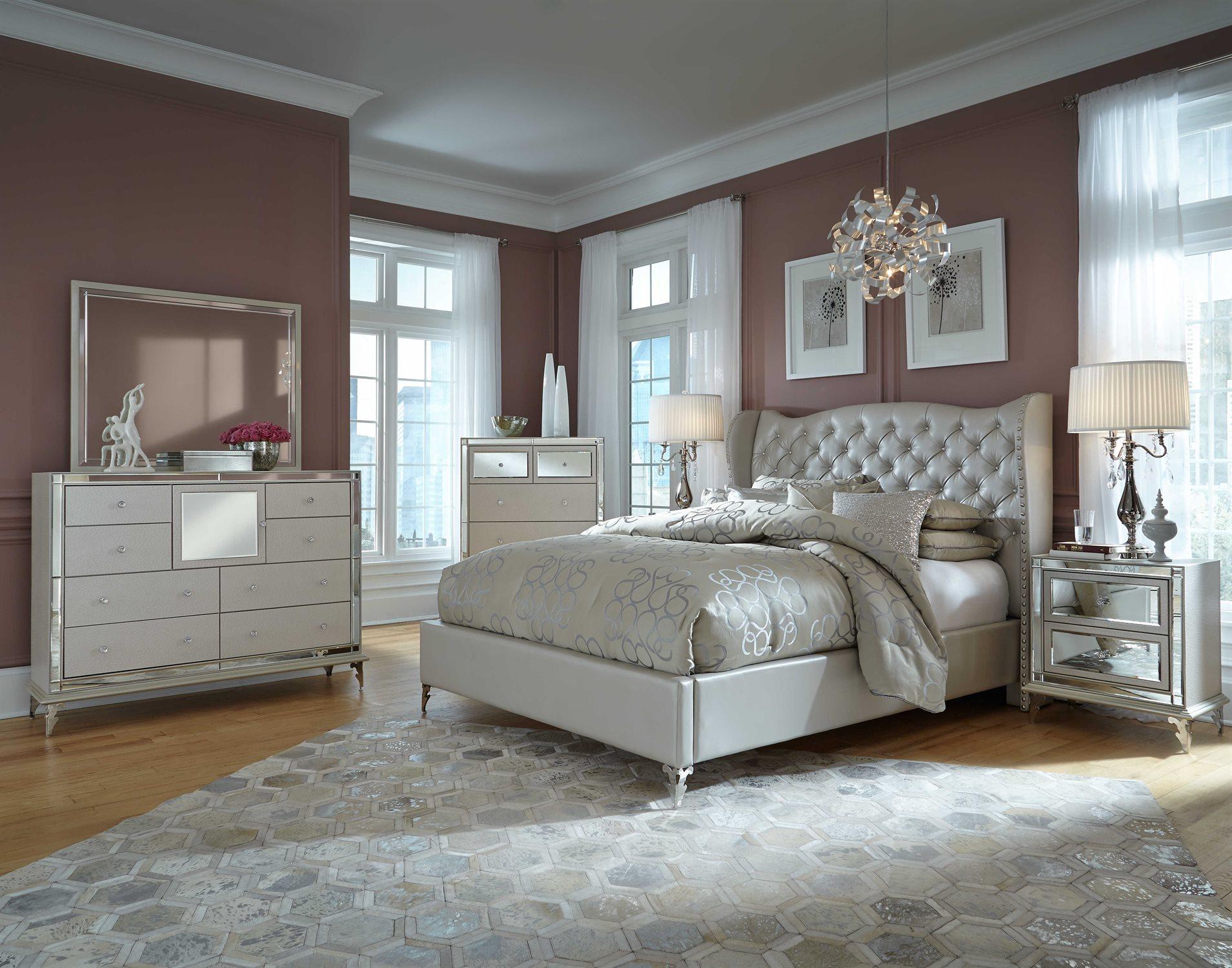 Aico Furniture Hollywood Loft Bedroom Set 9001600qnbed 104