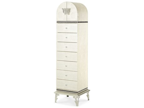 Aico Furniture Michael Amini Hollywood Swank Crystal Croc Seven-Drawer Swivel Lingerie Chest of Drawer AIC0306209