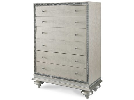 Aico Furniture Michael Amini Hollywood Swank Crystal Croc Five-Drawer Chest Of Drawers AIC0307009