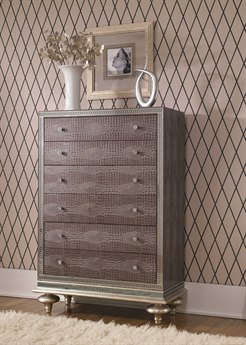Aico Furniture Michael Amini Hollywood Swank Amazing Gator Five-Drawer Chest Of Drawers