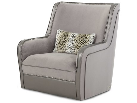 Aico Furniture Michael Amini Hollywood Swank Silver Swivel Club Chair AIC03839SILVR00