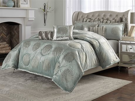 Aico Furniture Michael Amini Hollywood Swank Regent Ice Blue Nine-Piece Queen Comforter Set AICBCSQS09RGENTICE