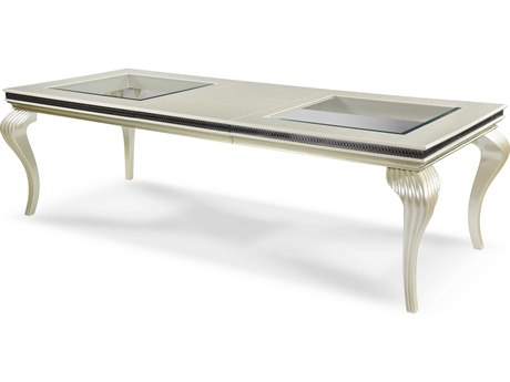 Aico Furniture Michael Amini Hollywood Swank Pearl Caviar 78-102''W x 42''D Rectangular Dining Table AICNT0300011