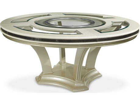 Aico Furniture Michael Amini Hollywood Swank Pearl Caviar 72'' Wide Round Dining Table AICNT0300111