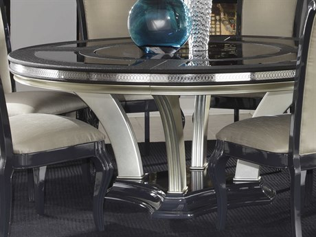 Aico Furniture Michael Amini Hollywood Swank Caviar 72'' Wide Round Dining Table AICNT0300185