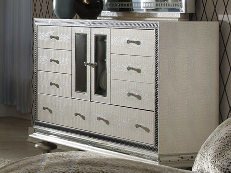Aico Furniture Michael Amini Hollywood Swank Crystal Croc Eight-Drawer Double Dresser AIC0305009