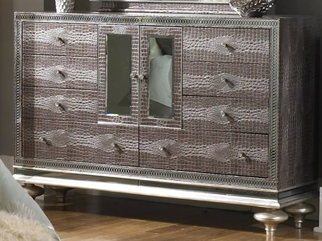 Aico Furniture Michael Amini Hollywood Swank Amazing Gator Eight-Drawers Double Dresser AIC0305033