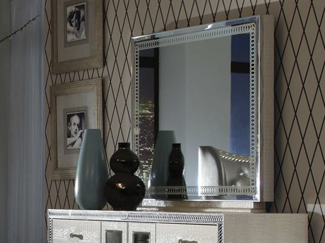Aico Furniture Michael Amini Hollywood Swank Crystal Croc 33''W x 41''H Rectangular Dresser Mirror AIC03060R09