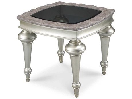 Aico Furniture Michael Amini Hollywood Swank Marble / Glass / Platinum 26'' Wide Square End Table AICNT0320200