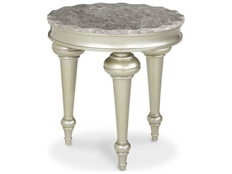 Aico Furniture Michael Amini Hollywood Swank Marble / Platinum 24'' Wide Round End Table AICNT0322200