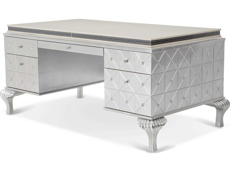 Aico Furniture Michael Amini Hollywood Swank Pearl Caviar 68''W x 38''D Rectangular Executive Desk AIC0320711