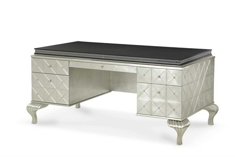 Aico Furniture Michael Amini Hollywood Swank Caviar 68''W x 38''D Rectangular Executive Desk AIC0320785