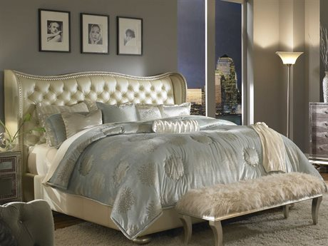 Aico Furniture Michael Amini Hollywood Swank Cream Pearl Eastern King Size Platform Bed AIC03000NEKUP314