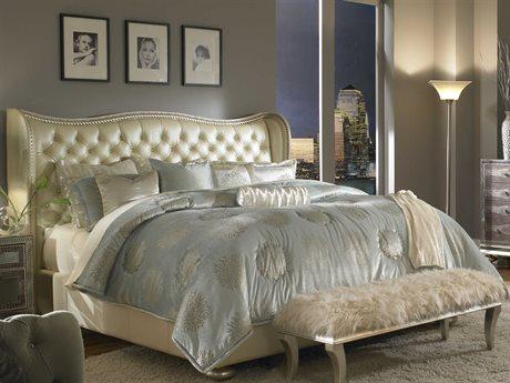 Aico Furniture Michael Amini Hollywood Swank Cream Pearl Eastern King Size Platform Bed AIC03000NEKUP314