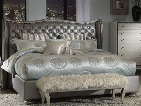 Aico Furniture Michael Amini Hollywood Swank Metallic Graphite Eastern King Size Platform Bed AIC03000NEKUP378