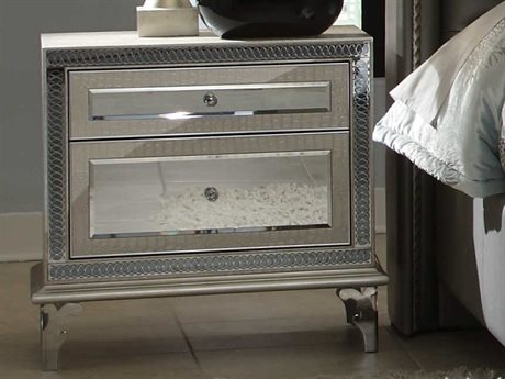 Aico Furniture Michael Amini Hollywood Swank Crystal Croc Two-Drawer Nightstand AIC0304009