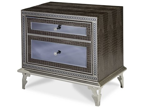 Aico Furniture Michael Amini Hollywood Swank Amazing Gator Two-Drawer Nightstand AIC0304033