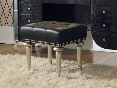 Aico Furniture Michael Amini Hollywood Swank Starry Night Black Iguana / Platinum Vanity Bench AIC0380405
