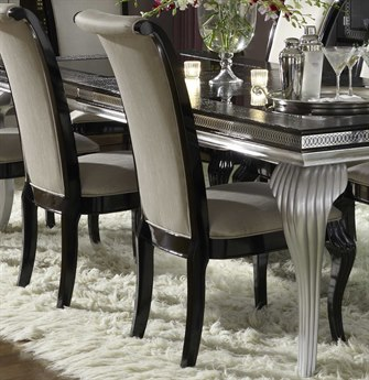 Aico Furniture Michael Amini Hollywood Swank Starry Night Black Onyx Dining Side Chair AICNT0300388