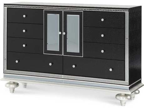 Aico Furniture Michael Amini Hollywood Swank Starry Night Black Iguana Eight-Drawer Double Dresser AIC0305181