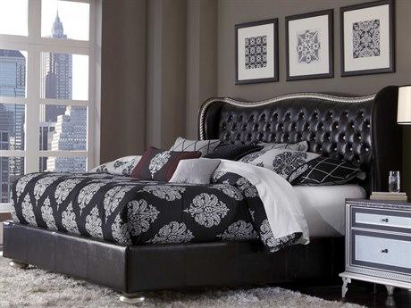 Aico Furniture Michael Amini Hollywood Swank Starry Night Black Iguana California King Size Platform Bed AIC03000SCKUP387