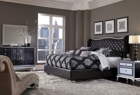 Aico Furniture Hollywood Swank Starry Night Bed Bedroom Set AIC03000SQNUP387SET