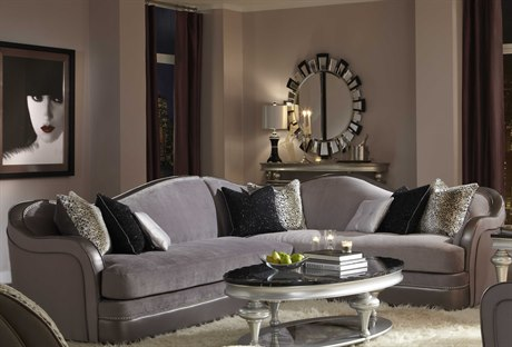Aico Furniture Michael Amini Hollywood Swank Starry Night Silver Sectional Sofa AIC0381223SILVR00