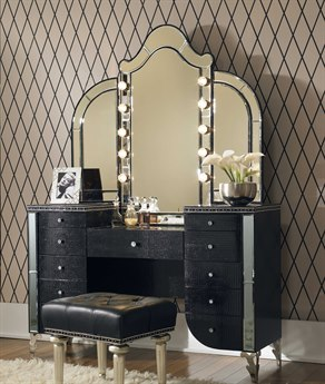 Aico Furniture Michael Amini Hollywood Swank Starry Night Black Iguana Vanity with Mirror AIC03000VAN281