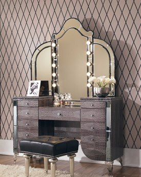 Aico Furniture Michael Amini Hollywood Swank Amazing Gator Vanity with Mirror AIC03000VAN233