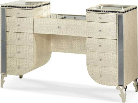 Aico Furniture Michael Amini Hollywood Swank Crystal Croc Vanity AIC0305809