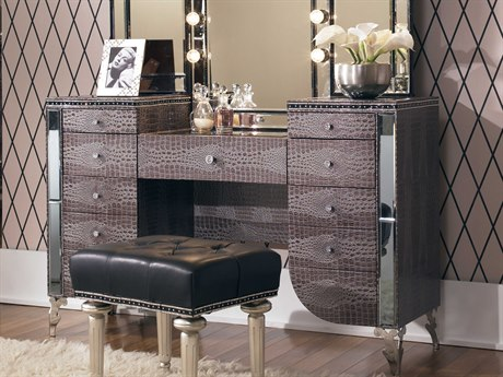 Aico Furniture Michael Amini Hollywood Swank Amazing Gator Vanity