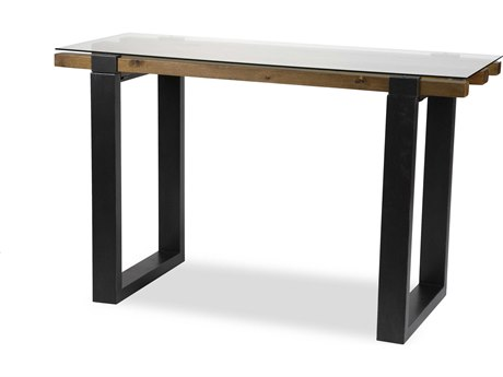 Aico Furniture Michael Amini Keystone Glass / Mahogany 48''W x 21''D Rectangular Console Table AICFSKYSTN223