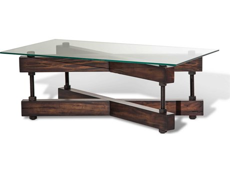 Aico Furniture Michael Amini Killington Tempered Glass / Mahogany 48''W x 28''D Rectangular Coffee Table AICFSKLGTN201