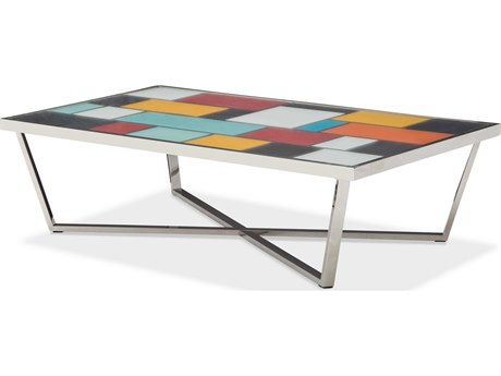 Aico Furniture Michael Amini Kube Multi Color / Stainless Steel 60''W x 34''D Rectangular Coffee Table AICFSKUBE201
