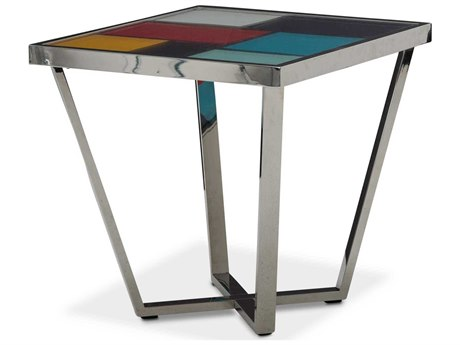 Aico Furniture Michael Amini Kube Multi Color / Stainless Steel 24'' Wide Square End Table AICFSKUBE202