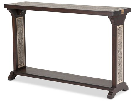 Aico Furniture Michael Amini La Paz Etched Pastor Stone / Mahogany 54''W x 15''D Rectangular Console Table AICFSLAPAZ223