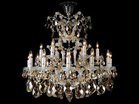 Aico Furniture Michael Amini La Scala Gold / Clear / Congnac 19-Light 34'' Wide Chandelier AICLTCH91219CGN