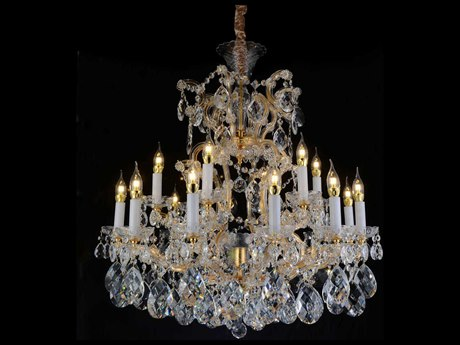 Aico Furniture Michael Amini La Scala Gold / Clear 19-Light 34'' Wide Chandelier AICLTCH91419CLR