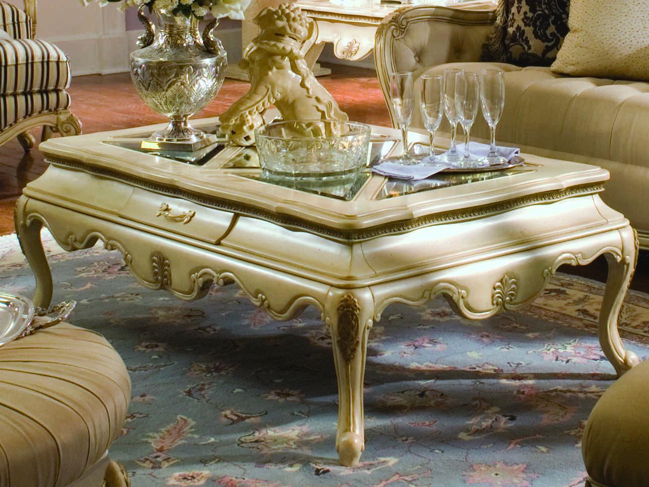 Aico Furniture Michael Amini Lavelle Glass Blanc 53 W X 33 D